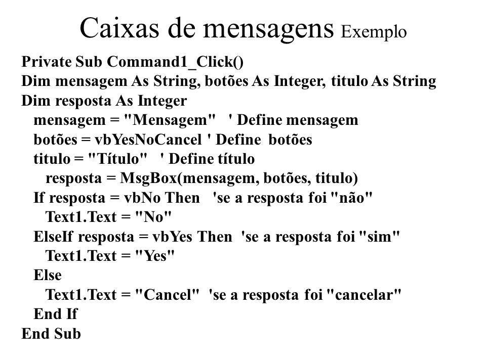 Caixas de mensagens Exemplo