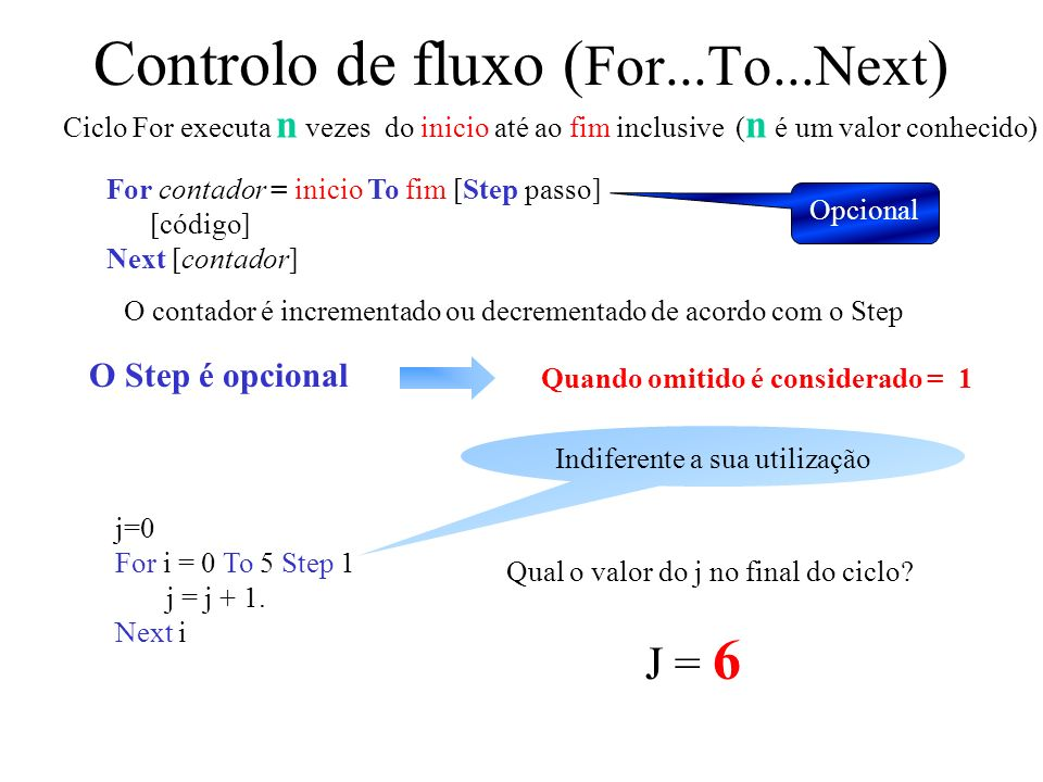 Controlo de fluxo (For...To...Next)