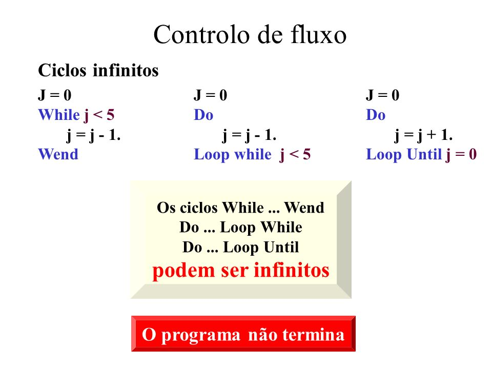 Controlo de fluxo podem ser infinitos Ciclos infinitos