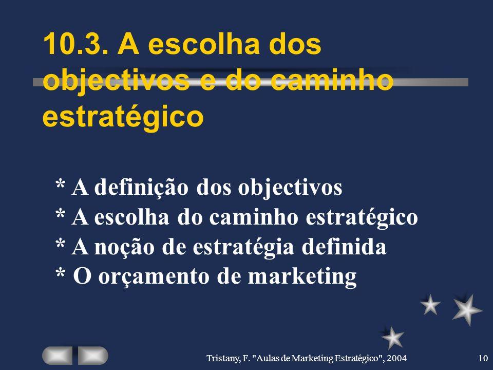 10.3. A escolha dos objectivos e do caminho estratégico
