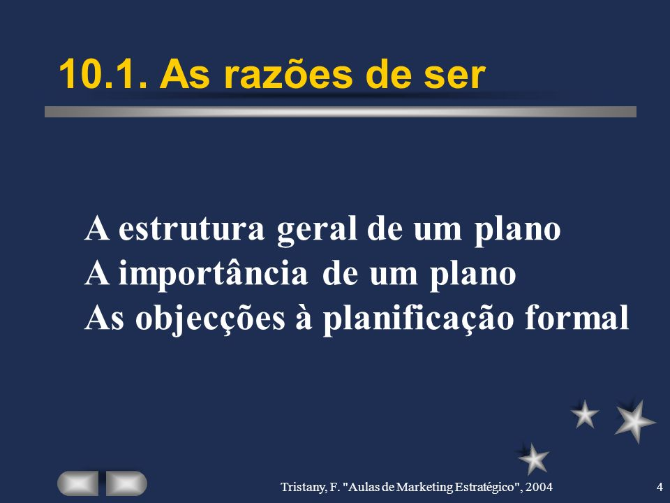 Tristany, F. Aulas de Marketing Estratégico , 2004