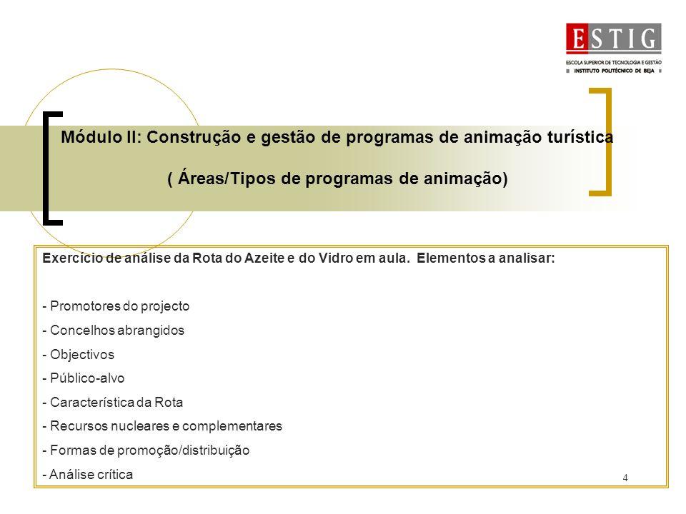 Módulo II: Construção e gestão de programas de animação turística ( Áreas/Tipos de programas de animação)