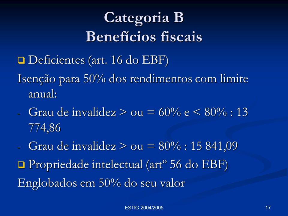 Categoria B Benefícios fiscais