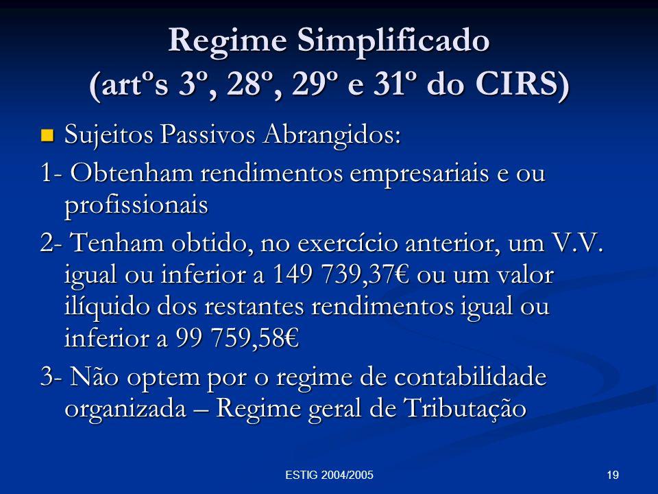 Regime Simplificado (artºs 3º, 28º, 29º e 31º do CIRS)