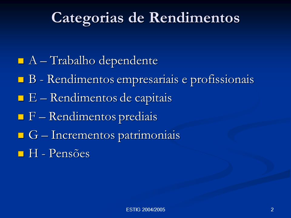 Categorias de Rendimentos