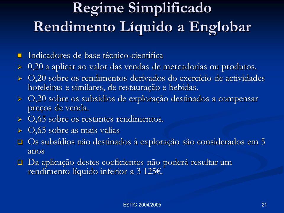 Regime Simplificado Rendimento Líquido a Englobar