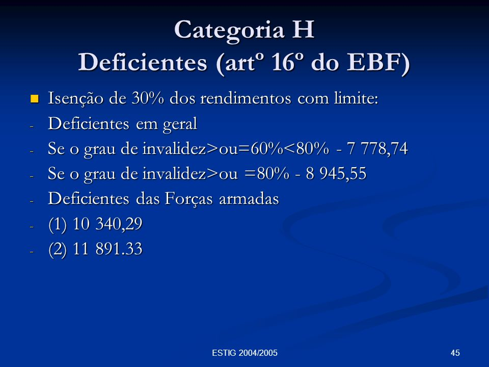Categoria H Deficientes (artº 16º do EBF)