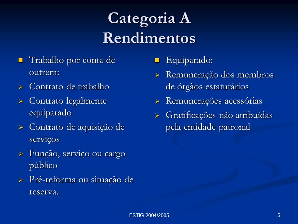 Categoria A Rendimentos