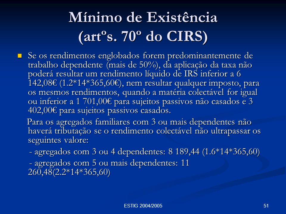 Mínimo de Existência (artºs. 70º do CIRS)