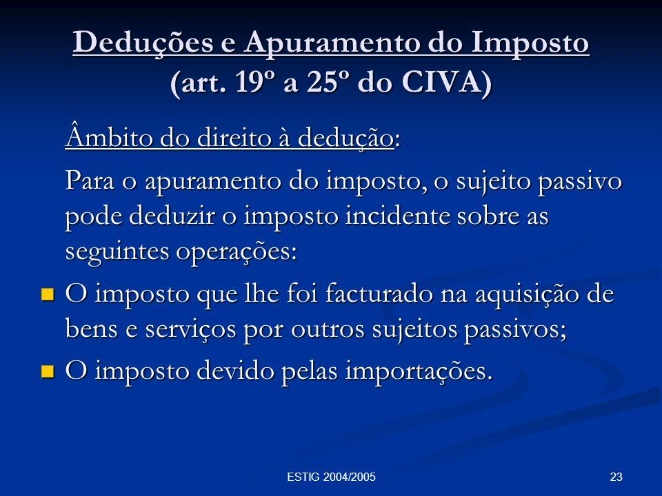 Deduções e Apuramento do Imposto (art. 19º a 25º do CIVA)