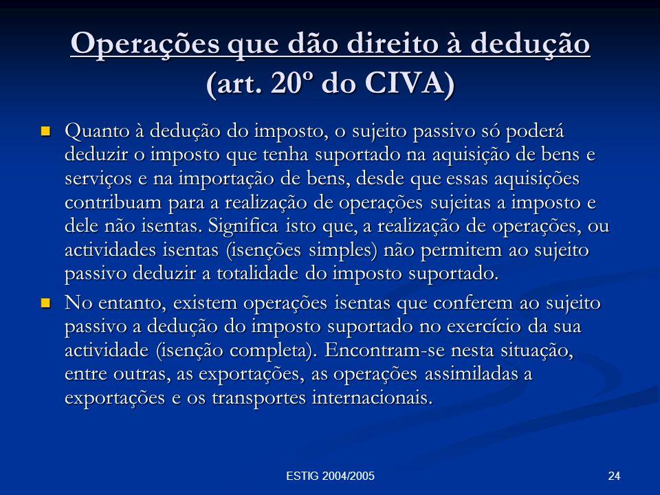Operações que dão direito à dedução (art. 20º do CIVA)