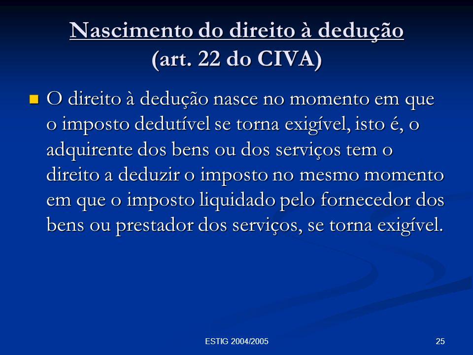 Nascimento do direito à dedução (art. 22 do CIVA)