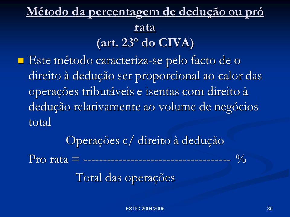 Método da percentagem de dedução ou pró rata (art. 23º do CIVA)
