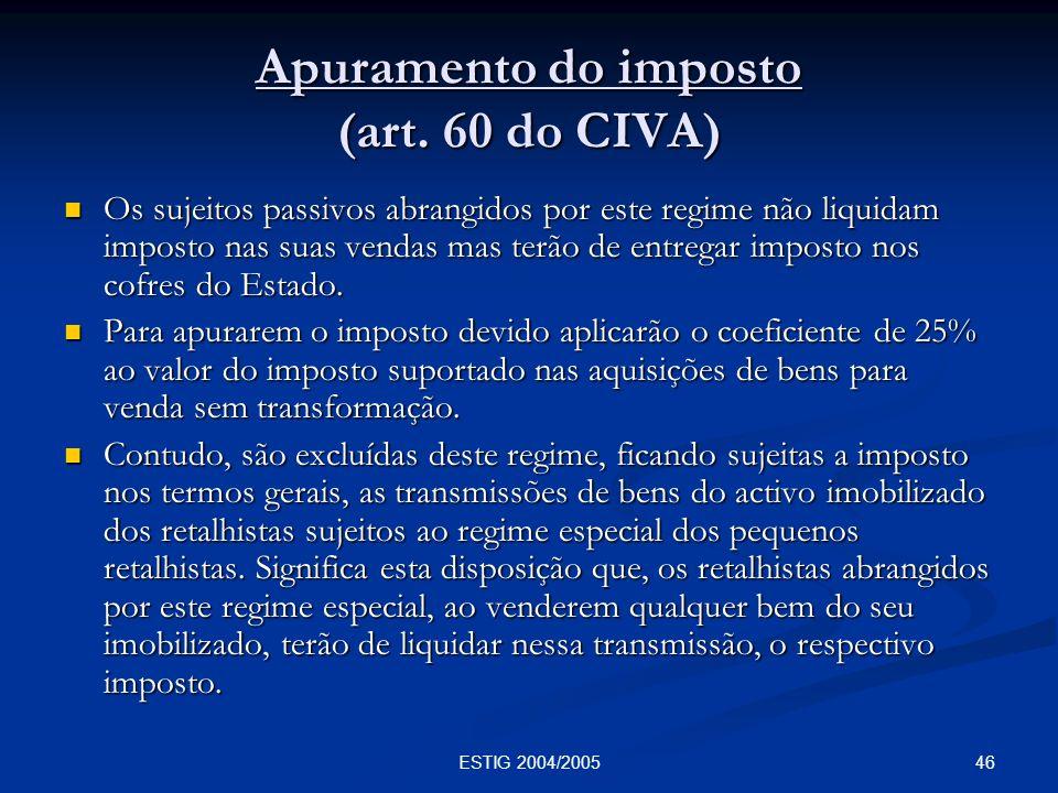 Apuramento do imposto (art. 60 do CIVA)