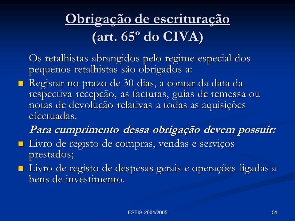 Obrigação de escrituração (art. 65º do CIVA)