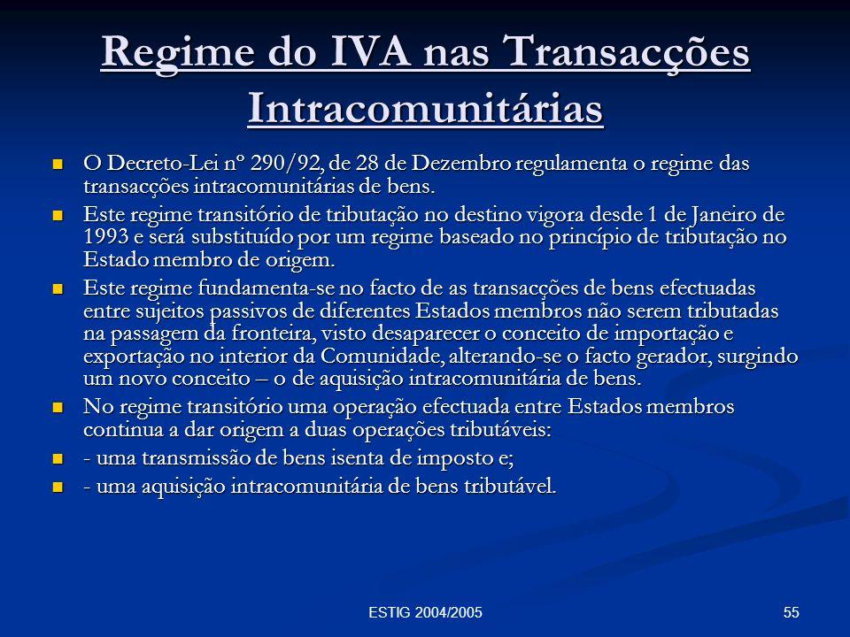 Regime do IVA nas Transacções Intracomunitárias
