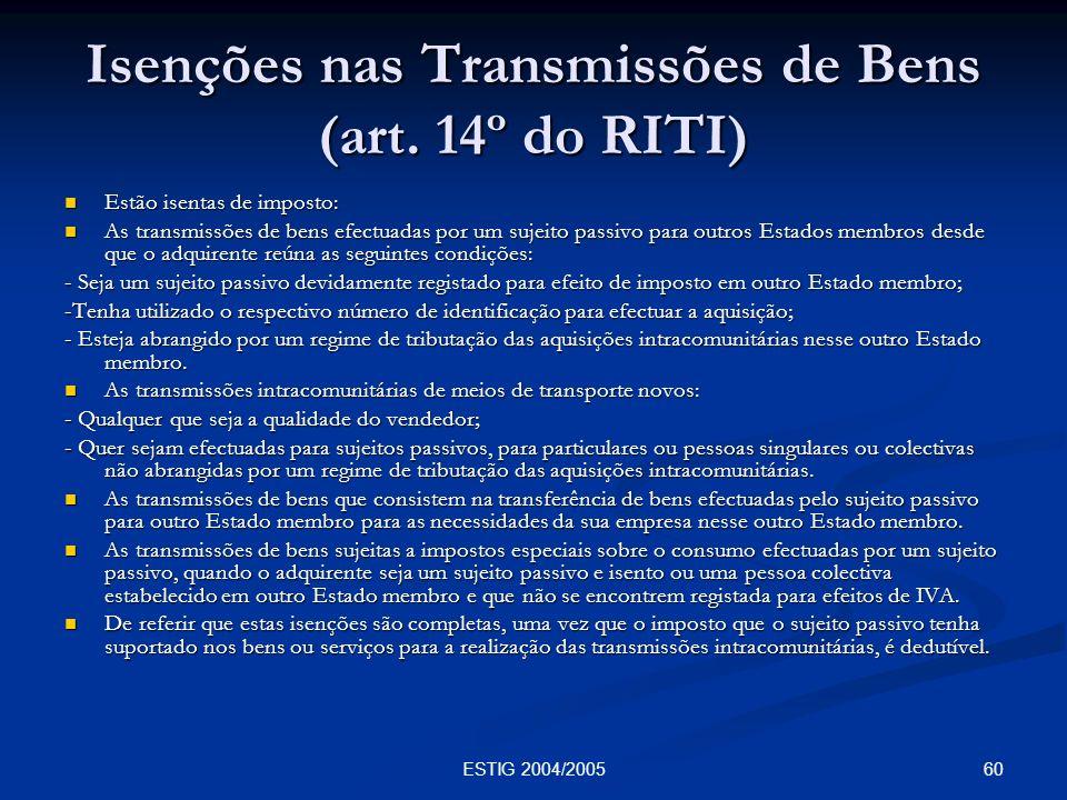 Isenções nas Transmissões de Bens (art. 14º do RITI)