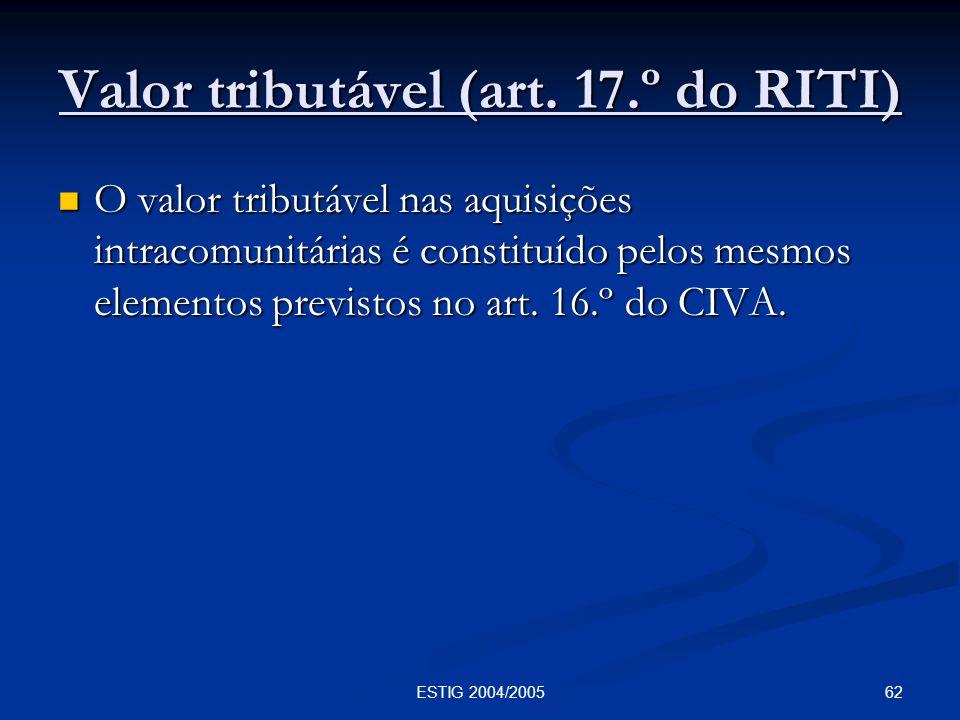 Valor tributável (art. 17.º do RITI)