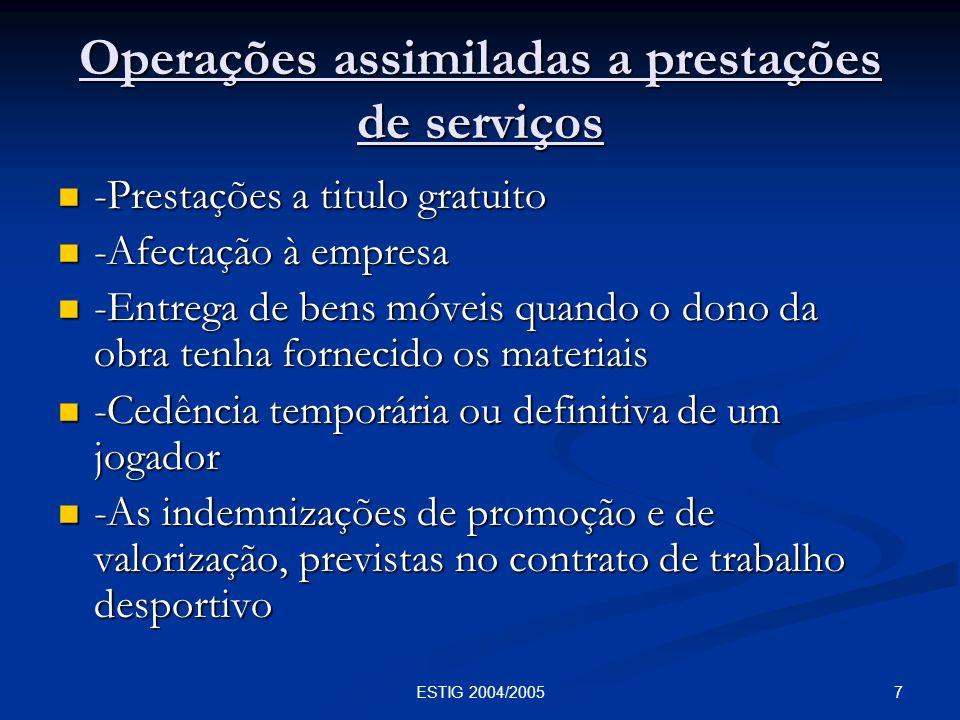Operações assimiladas a prestações de serviços