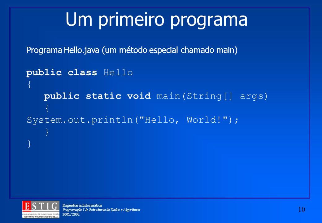 Um primeiro programa public class Hello {