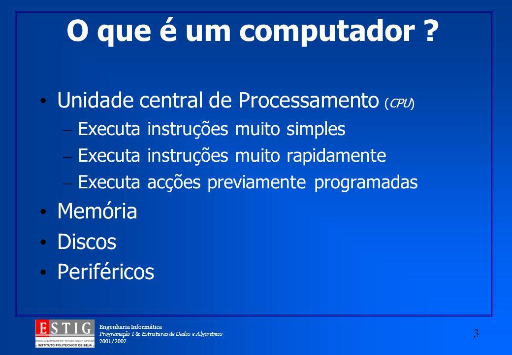 O que é um computador Unidade central de Processamento (CPU) Memória