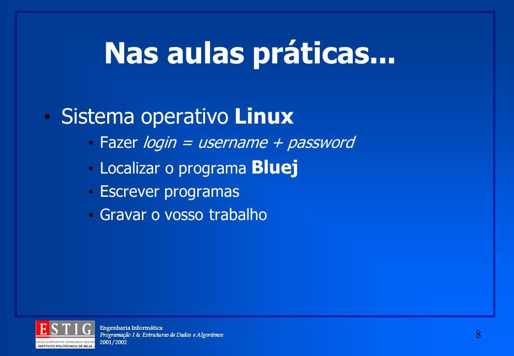 Nas aulas práticas... Sistema operativo Linux