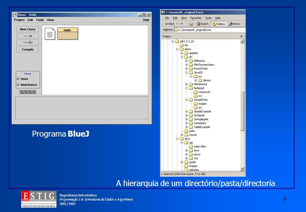 Programa BlueJ A hierarquia de um directório/pasta/directoria