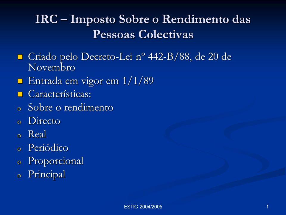 IRC – Imposto Sobre o Rendimento das Pessoas Colectivas