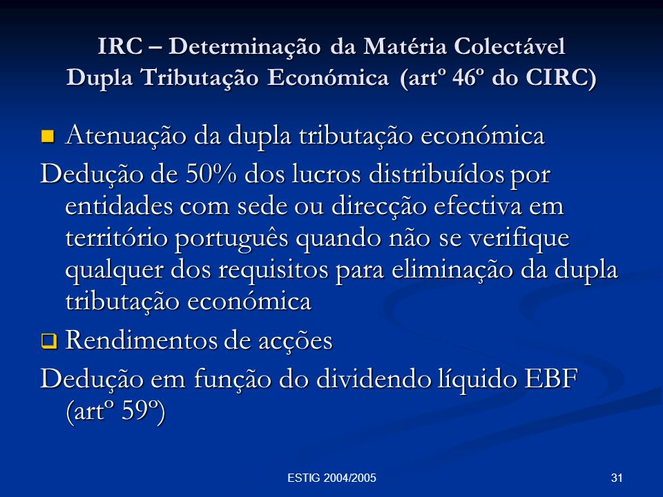 Atenuação da dupla tributação económica