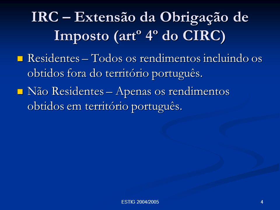 IRC – Extensão da Obrigação de Imposto (artº 4º do CIRC)