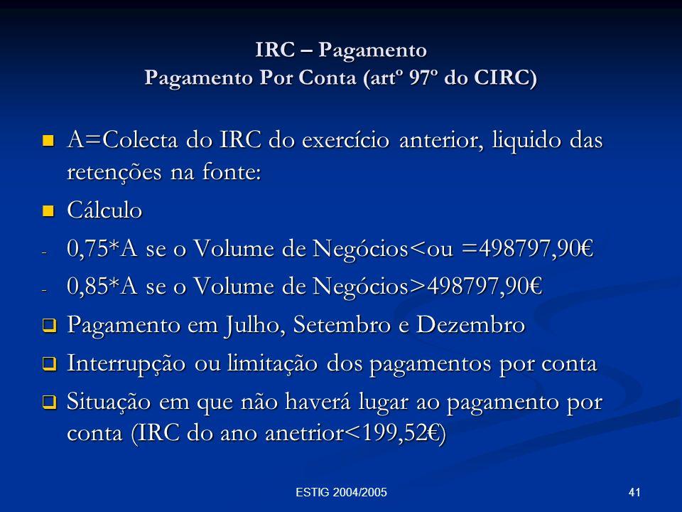 IRC – Pagamento Pagamento Por Conta (artº 97º do CIRC)
