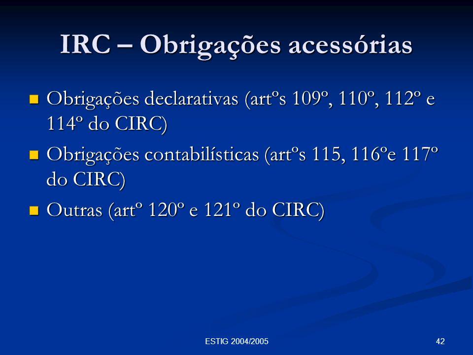 IRC – Obrigações acessórias