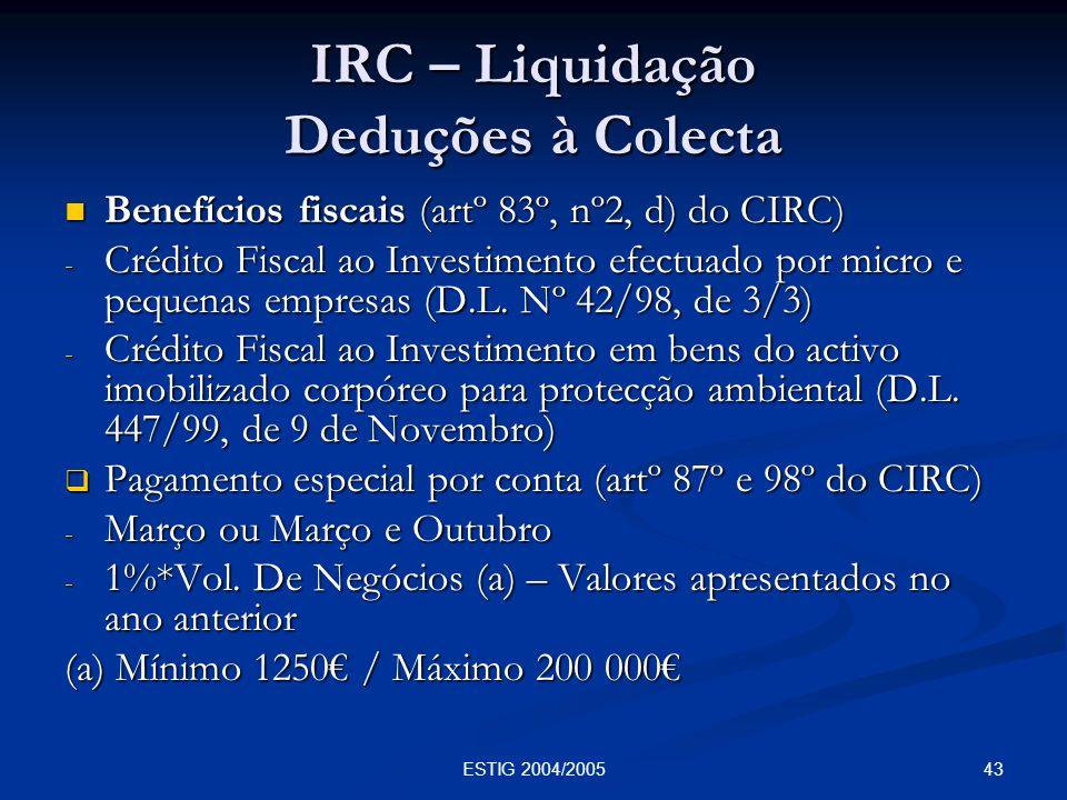 IRC – Liquidação Deduções à Colecta