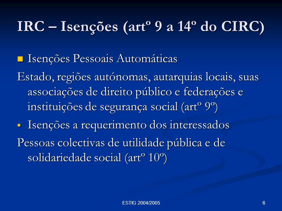 IRC – Isenções (artº 9 a 14º do CIRC)