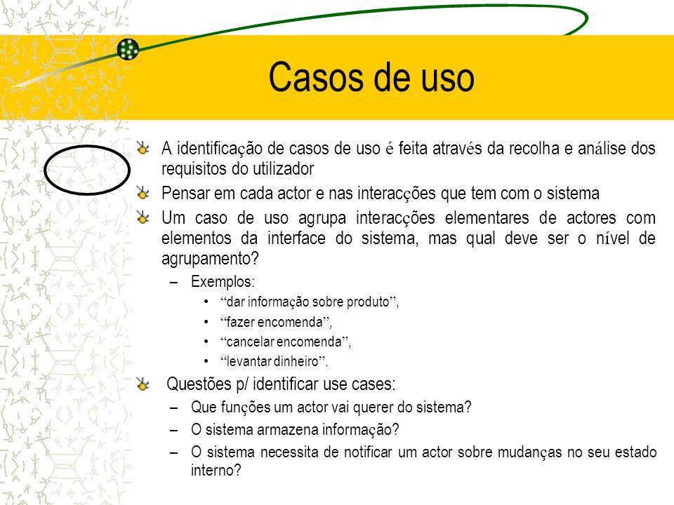 Casos de uso A identificação de casos de uso é feita através da recolha e análise dos requisitos do utilizador.