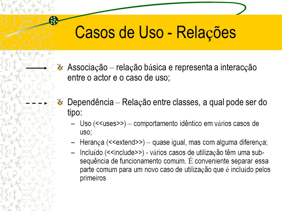 Casos de Uso - Relações Associação – relação básica e representa a interacção entre o actor e o caso de uso;