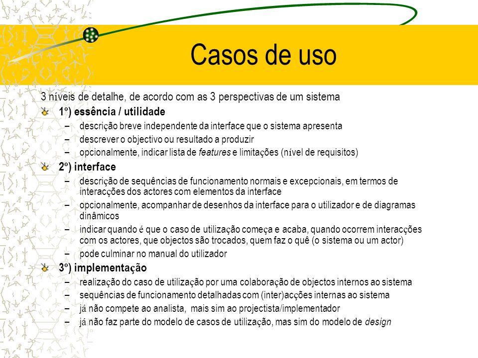 Casos de uso 3 níveis de detalhe, de acordo com as 3 perspectivas de um sistema. 1º) essência / utilidade.
