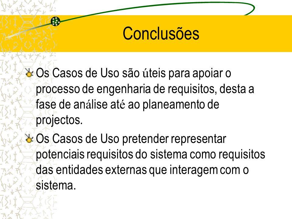 Conclusões Os Casos de Uso são úteis para apoiar o processo de engenharia de requisitos, desta a fase de análise até ao planeamento de projectos.