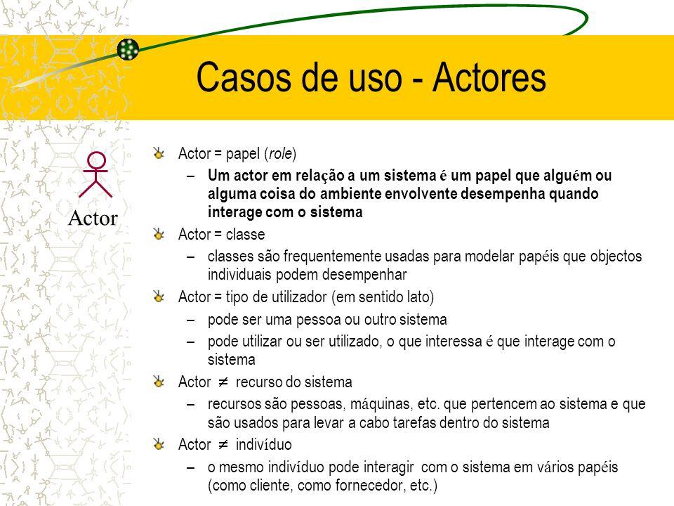 Casos de uso - Actores Actor Actor = papel (role)