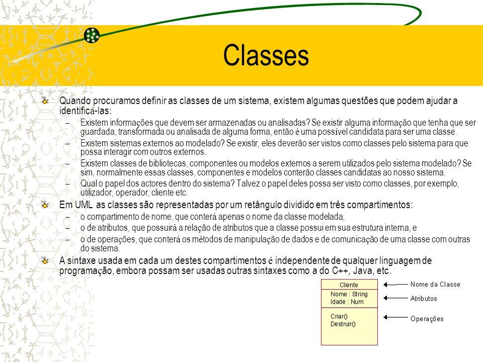 Classes Quando procuramos definir as classes de um sistema, existem algumas questões que podem ajudar a identificá-las: