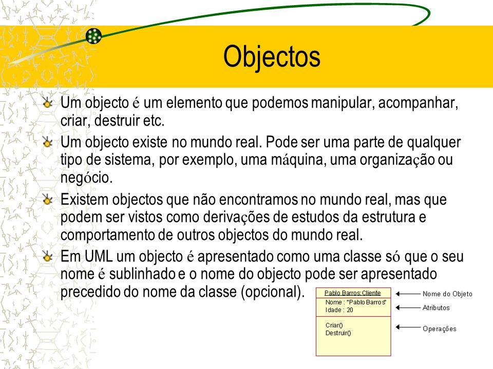 Objectos Um objecto é um elemento que podemos manipular, acompanhar, criar, destruir etc.