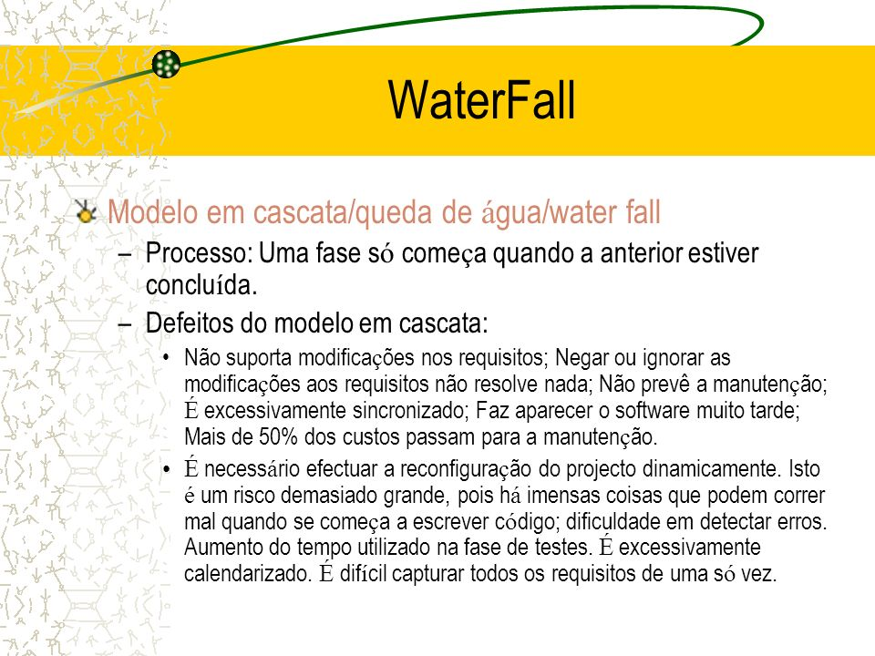 WaterFall Modelo em cascata/queda de água/water fall