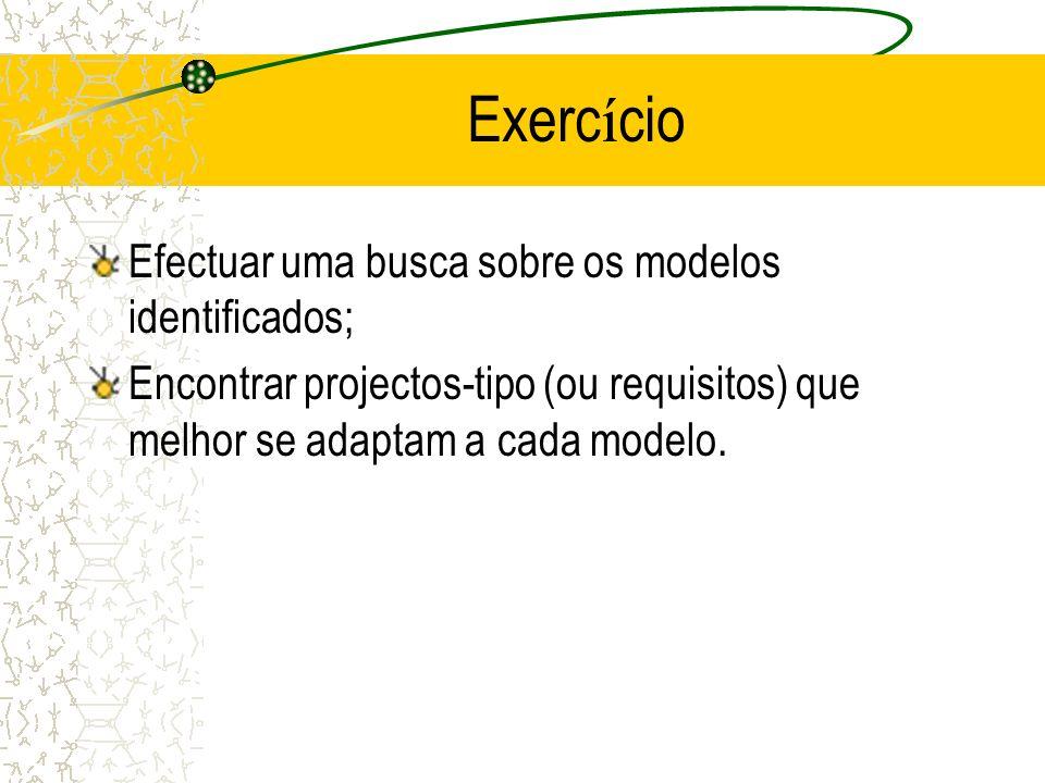 Exercício Efectuar uma busca sobre os modelos identificados;
