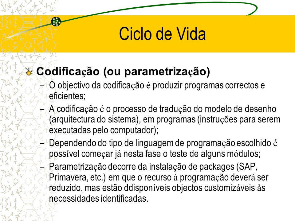 Ciclo de Vida Codificação (ou parametrização)