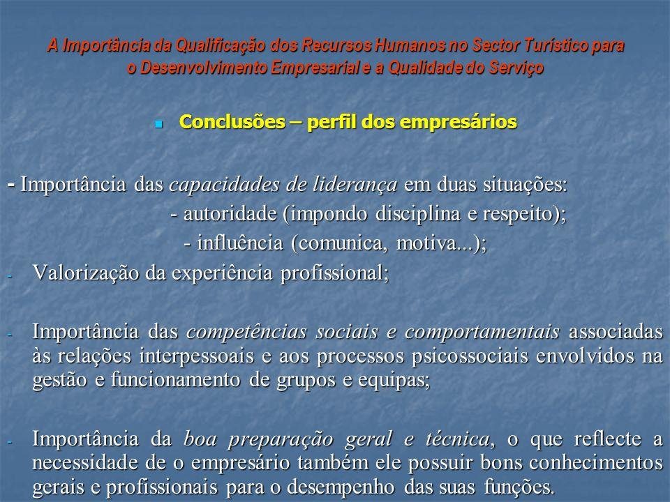 Conclusões – perfil dos empresários