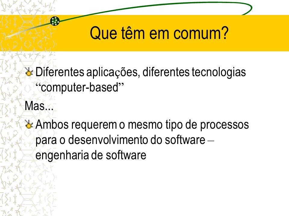 Que têm em comum Diferentes aplicações, diferentes tecnologias computer-based Mas...