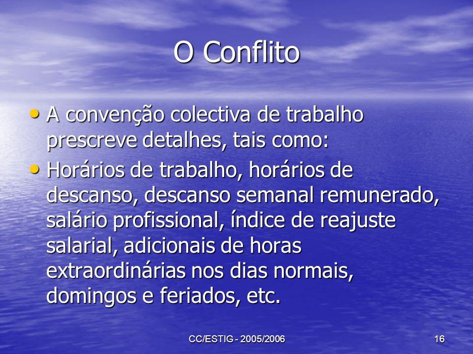 O Conflito A convenção colectiva de trabalho prescreve detalhes, tais como: