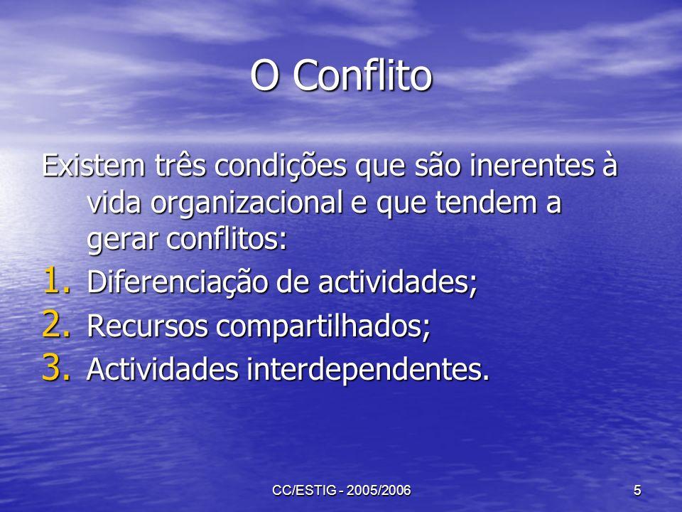 O Conflito Existem três condições que são inerentes à vida organizacional e que tendem a gerar conflitos:
