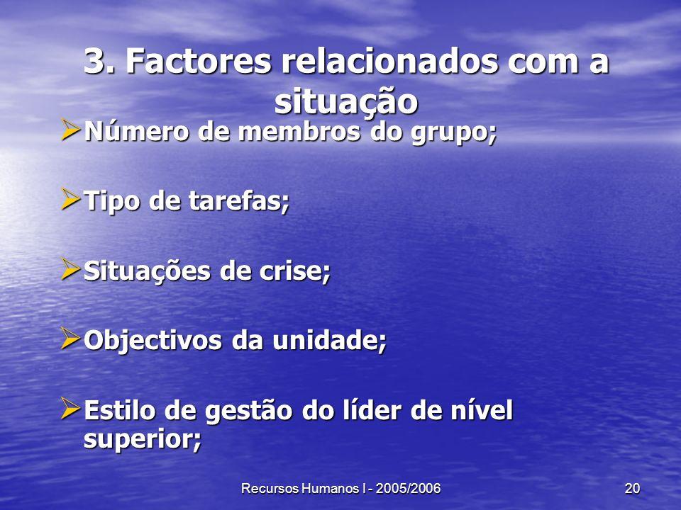 3. Factores relacionados com a situação