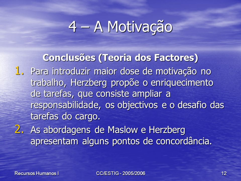 Conclusões (Teoria dos Factores)